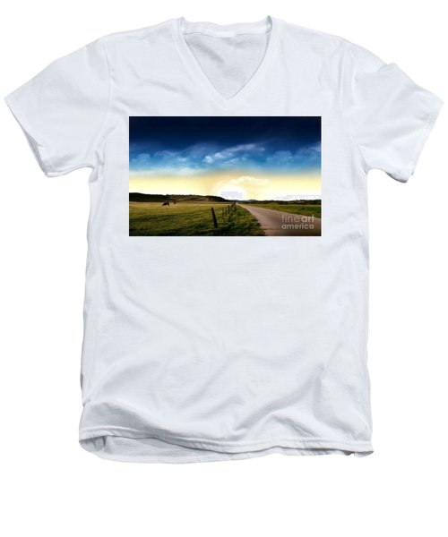 Grazing Time Men's V-Neck T-Shirt by Rod Jellison