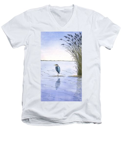 Great Blue Heron Men's V-Neck T-Shirt by Charles Harden
