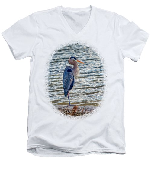 Great Blue Heron Men's V-Neck T-Shirt by John M Bailey