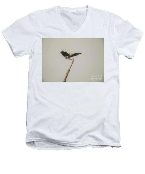 Men's V-Neck T-Shirt featuring the photograph Great Blue Heron Landing by David Bearden
