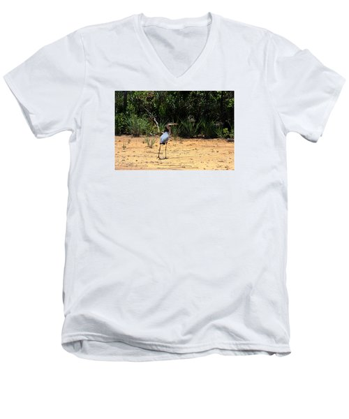 Men's V-Neck T-Shirt featuring the photograph Great Blue Heron On Beach by Sheila Brown