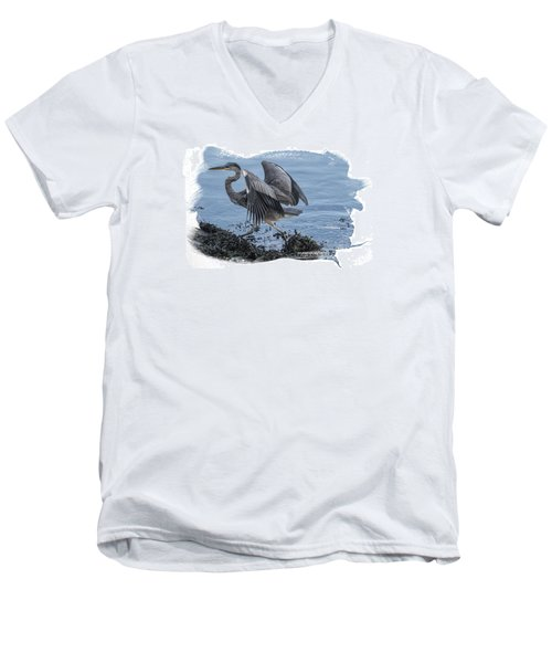 Great Blue Heron On Cape Cod Canal 1 Men's V-Neck T-Shirt by Constantine Gregory