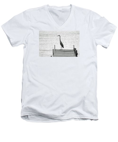 Great Blue Heron On Dock - Keuka Lake - Bw Men's V-Neck T-Shirt