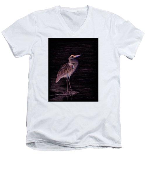 Great Blue Heron Men's V-Neck T-Shirt by Phyllis Howard