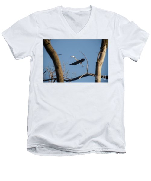 Men's V-Neck T-Shirt featuring the photograph Great Blues Nesting by David Bearden