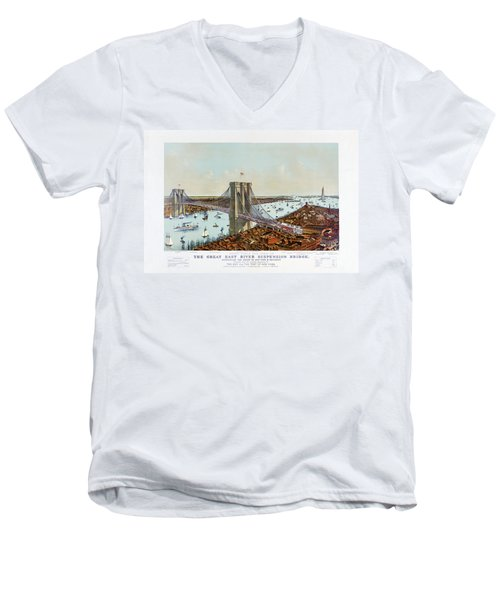 Great East River Suspension Bridge 1892 Men's V-Neck T-Shirt