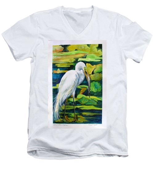 Great Egret Men's V-Neck T-Shirt