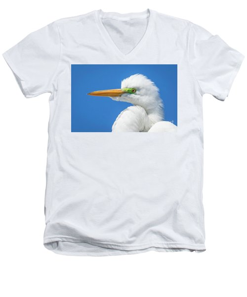 Great Egret Profile Men's V-Neck T-Shirt