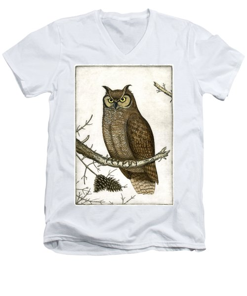 Great Horned Owl Men's V-Neck T-Shirt by Charles Harden