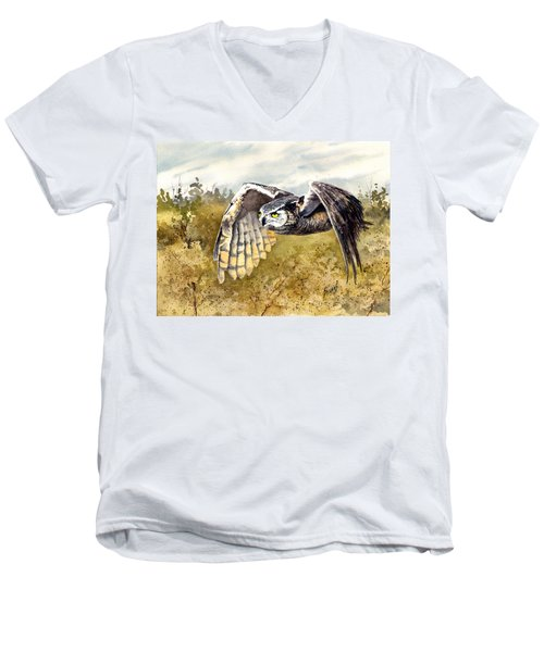 Great Horned Owl In Flight Men's V-Neck T-Shirt by Sam Sidders
