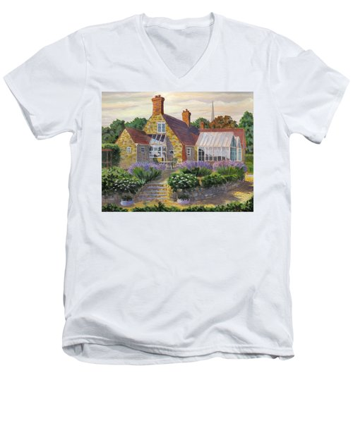 Great Houghton Cottage Men's V-Neck T-Shirt by David Gilmore