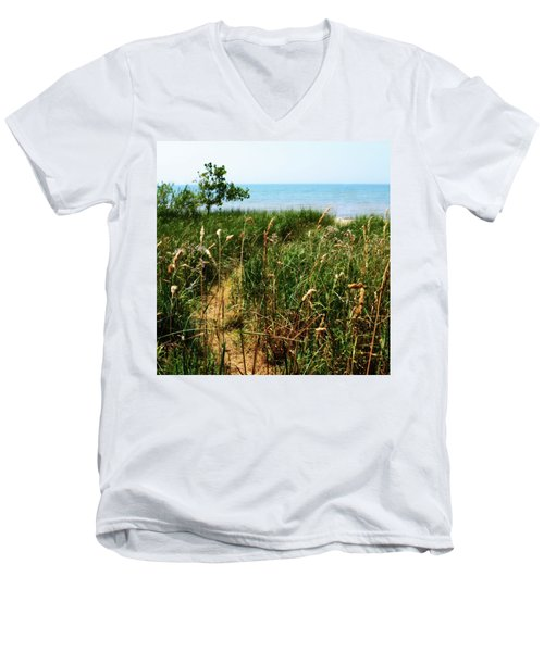 Men's V-Neck T-Shirt featuring the photograph Great Lake Beach Path by Michelle Calkins