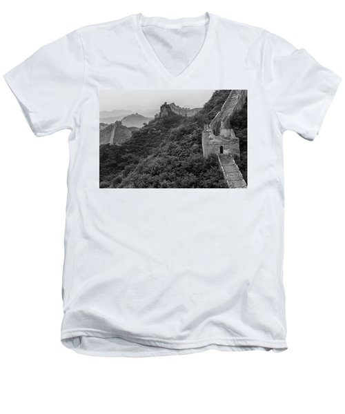 Men's V-Neck T-Shirt featuring the photograph Great Wall 3, Jinshanling, 2016 by Hitendra SINKAR