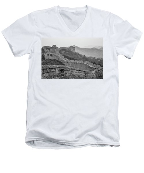Men's V-Neck T-Shirt featuring the photograph Great Wall 7, Jinshanling, 2016 by Hitendra SINKAR