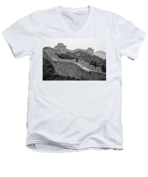 Men's V-Neck T-Shirt featuring the photograph Great Wall 8, Jinshanling, 2016 by Hitendra SINKAR