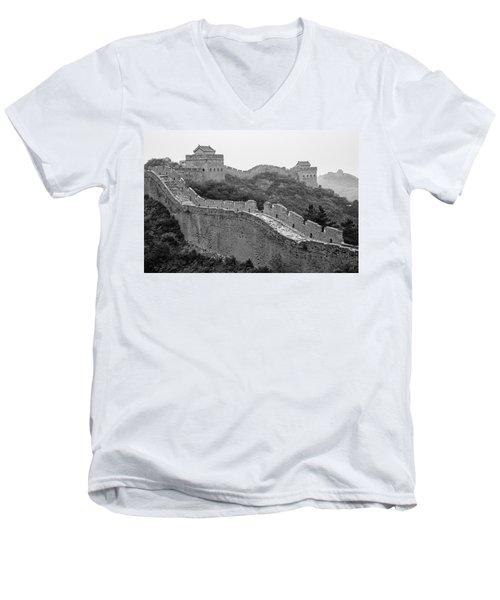 Men's V-Neck T-Shirt featuring the photograph Great Wall 8, Jinshanling, 2016 by Hitendra SINKAR