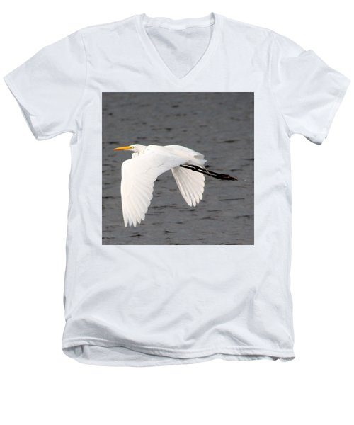 Great White Egret In Flight Men's V-Neck T-Shirt by Laurel Talabere