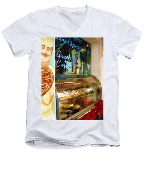 Greek Coffee Men's V-Neck T-Shirt by Sandy MacGowan