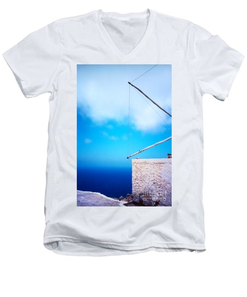 Greek Windmill Men's V-Neck T-Shirt by Silvia Ganora