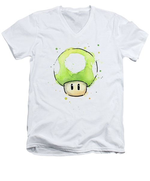 Green 1up Mushroom Men's V-Neck T-Shirt by Olga Shvartsur