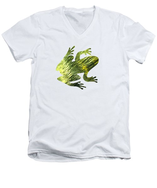 Green Abstract Water Reflection Men's V-Neck T-Shirt by Christina Rollo