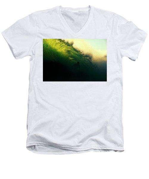Green And Black Men's V-Neck T-Shirt