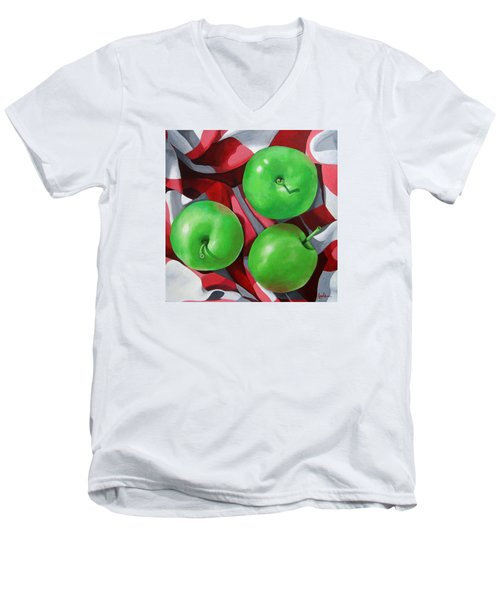 Green Apples Still Life Painting Men's V-Neck T-Shirt