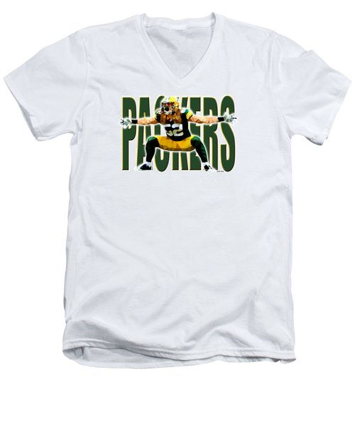 Men's V-Neck T-Shirt featuring the digital art Green Bay Packers by Stephen Younts