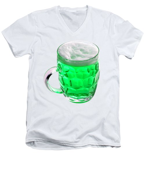 Green Beer Men's V-Neck T-Shirt by Stephanie Brock