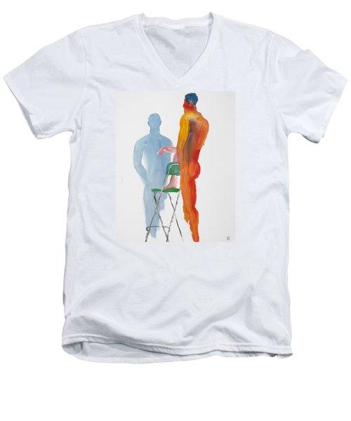 Green Chair Blue Shadow Men's V-Neck T-Shirt by Shungaboy X