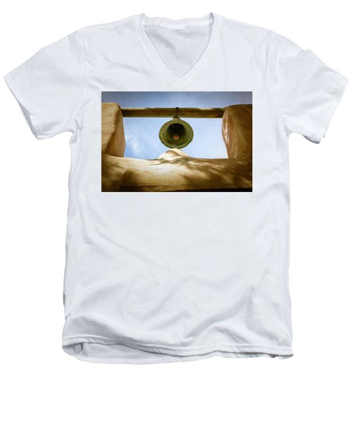Men's V-Neck T-Shirt featuring the photograph Green Church Bell by Marilyn Hunt