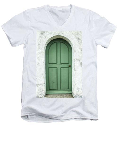 Green Church Door Iv Men's V-Neck T-Shirt