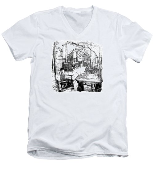 Men's V-Neck T-Shirt featuring the drawing Green Dragon Inn Nook by Kathy Kelly