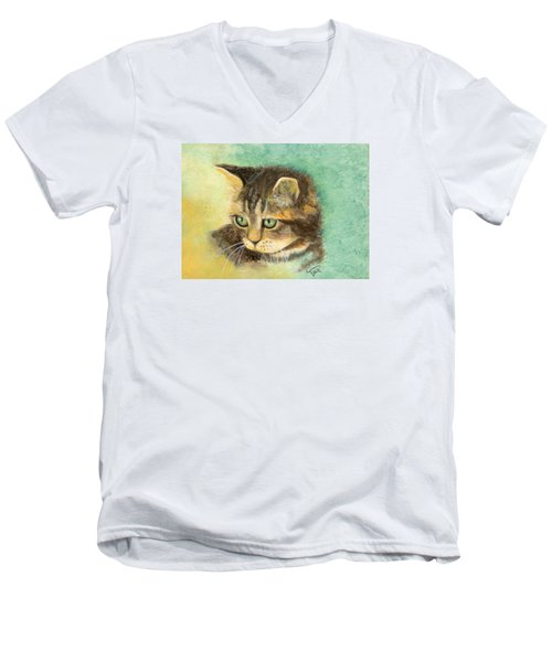Men's V-Neck T-Shirt featuring the painting Green Eyes by Terry Webb Harshman