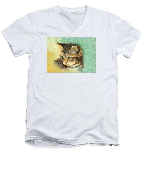 Green Eyes Men's V-Neck T-Shirt by Terry Webb Harshman