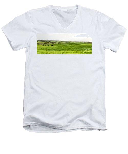 Green Fields. Men's V-Neck T-Shirt