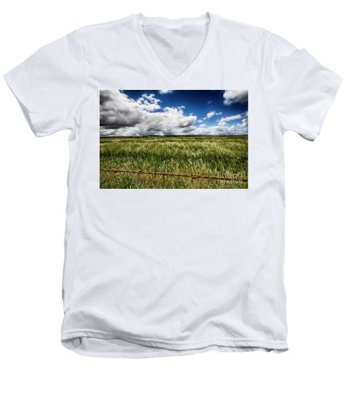 Men's V-Neck T-Shirt featuring the photograph Green Fields by Douglas Barnard