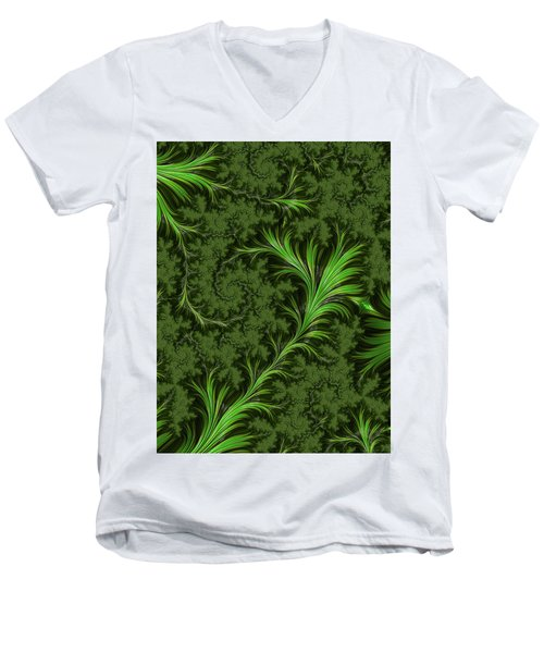 Green Fronds Men's V-Neck T-Shirt by Rajiv Chopra