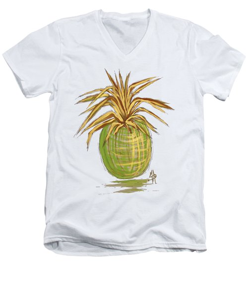 Green Gold Pineapple Painting Illustration Aroon Melane 2015 Collection By Madart Men's V-Neck T-Shirt by Megan Duncanson