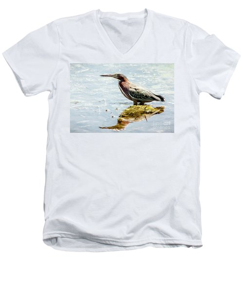 Men's V-Neck T-Shirt featuring the photograph Green Heron Bright Day by Robert Frederick
