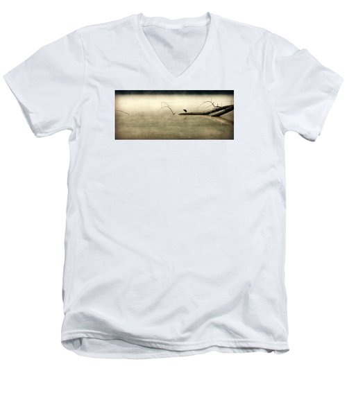 Green Heron In Dawn Mist Men's V-Neck T-Shirt by Kathy Barney