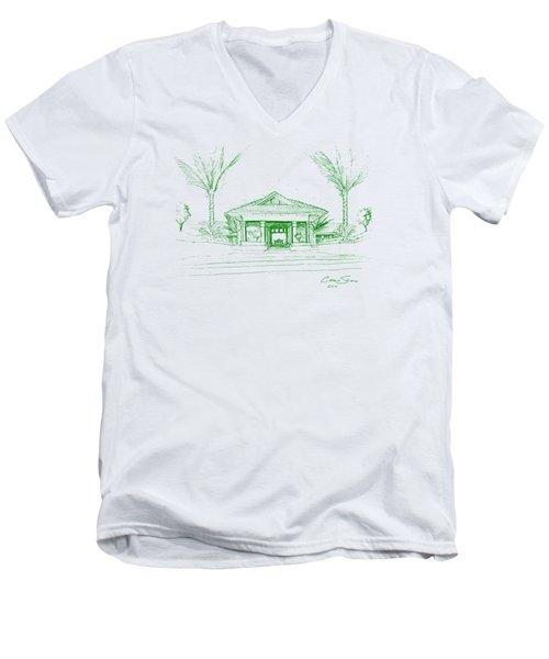 green lines on transparent background 10.28.Islands-8 Men's V-Neck T-Shirt