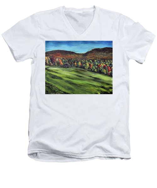 Men's V-Neck T-Shirt featuring the painting Green Mountain Retreat by Denny Morreale