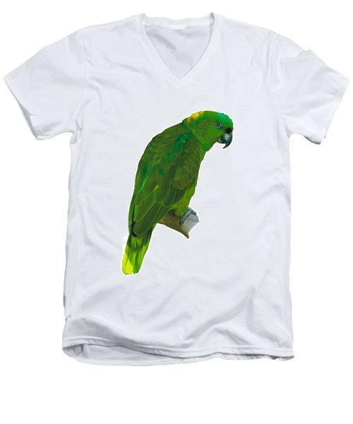 Green Parrot On White  Men's V-Neck T-Shirt