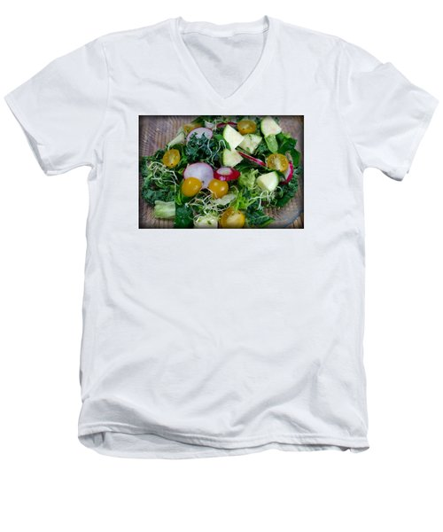 Men's V-Neck T-Shirt featuring the photograph Green Salad by Adria Trail