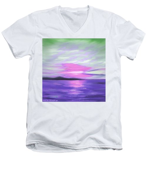 Green Skies And Purple Seas Sunset Men's V-Neck T-Shirt