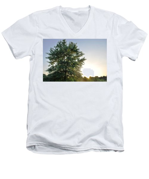Green Tree Bright Sunshine Background Men's V-Neck T-Shirt by Matt Harang
