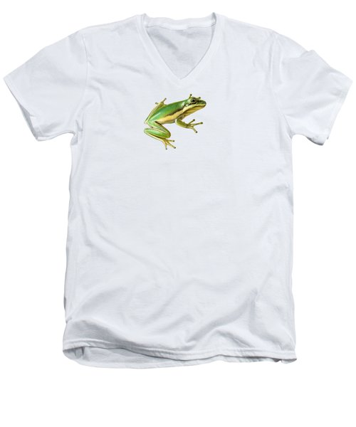 Green Tree Frog Men's V-Neck T-Shirt by Sarah Batalka