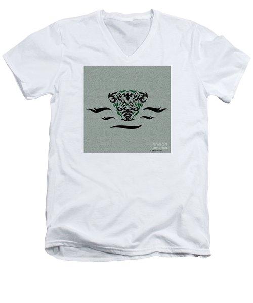Green Tribal Gator Men's V-Neck T-Shirt by Megan Dirsa-DuBois