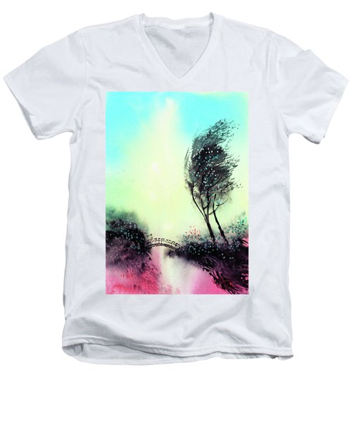 Men's V-Neck T-Shirt featuring the painting Greeting 1 by Anil Nene